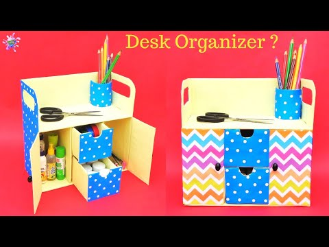 How to make Desk Organizer with cardboard box | Best out of waste | DIY room organizer