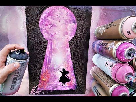Alice in Wonderland GLOW IN DARK - SPRAY PAINT ART - by Skech