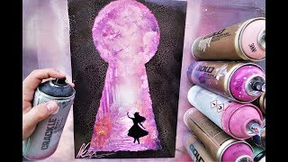Alice in Wonderland GLOW IN DARK - SPRAY PAINT ART - by Skech