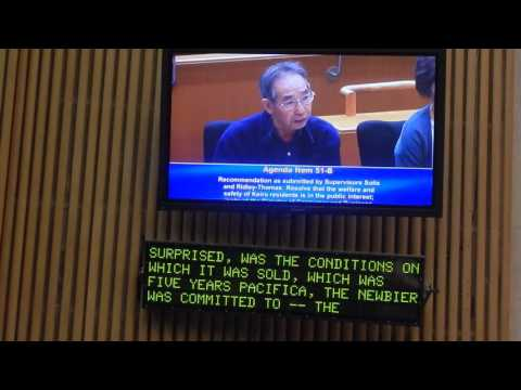 David Watanabe testifies before the Board of the Supervisor of LA County