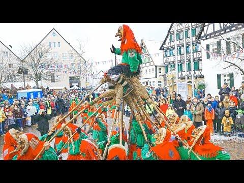 German carnival in Pfullingen 2016 4K Gruppe Trochtelfingen. Fasnetsumzug. Fasching.