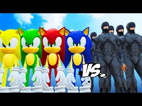 Sonic, Red Sonic, Green Sonic, Yellow Sonic, Black Sonic VS RoboCop Army