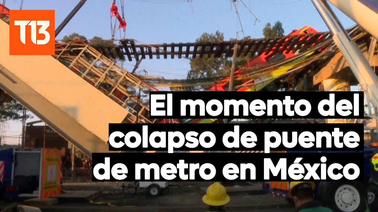 Cámara registra momento que colapsa puente de metro en México
