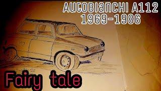 Antique car drawing Autobianchi A112, 1969 1986