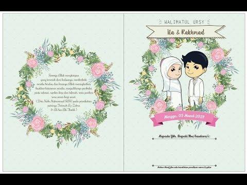 Desain Undangan Pernikahan Kartun Islami - YouTube