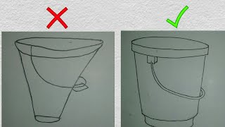 How to draw bucket for kid