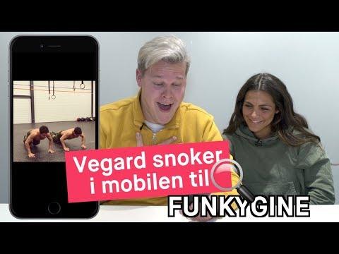 Vegard Harm snoker i mobilen til Funkygine