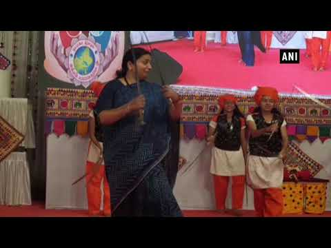 Watch: Smriti Irani dances with swords in Gujarat's Bhavnagar