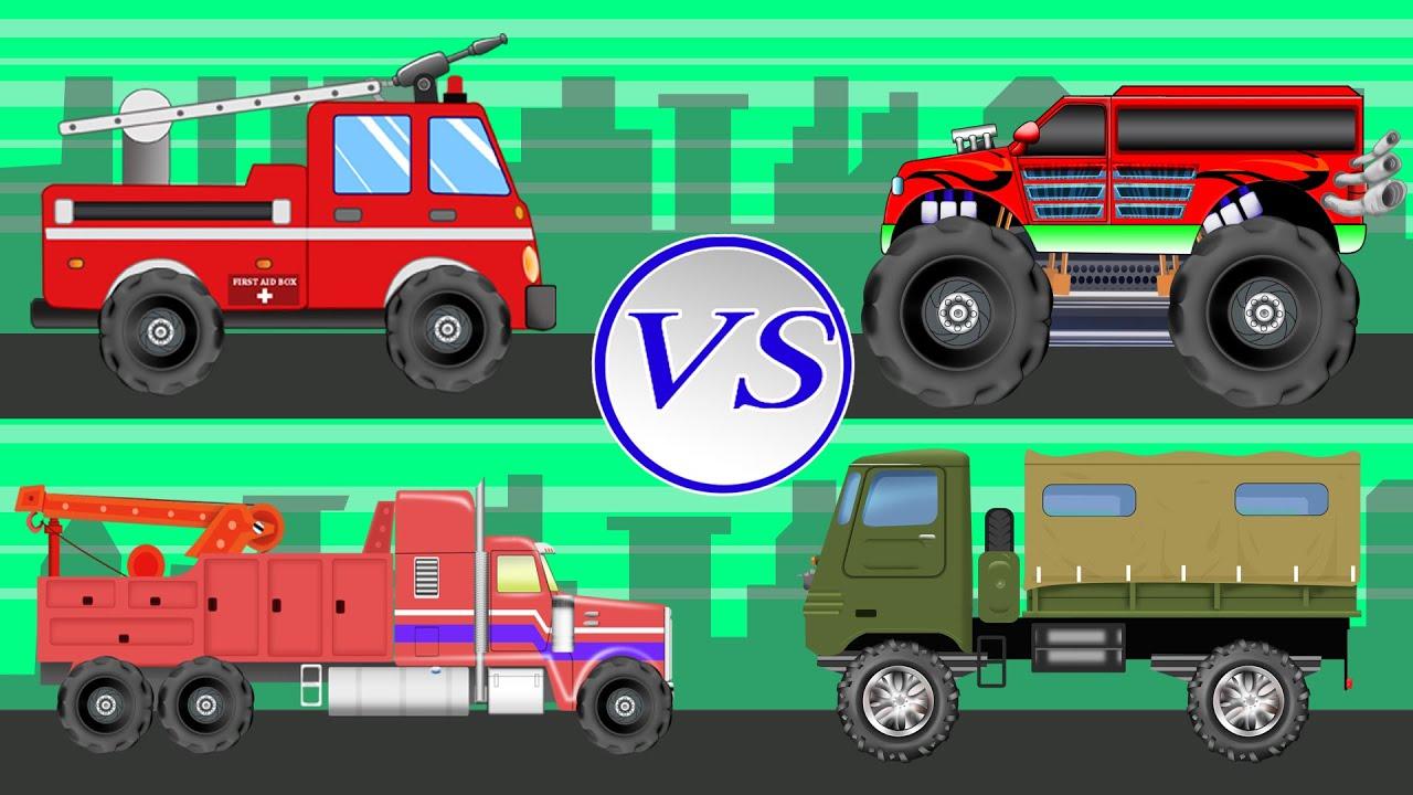 Big Trucks | Vehicles For Children | Truck Battles - YouTube