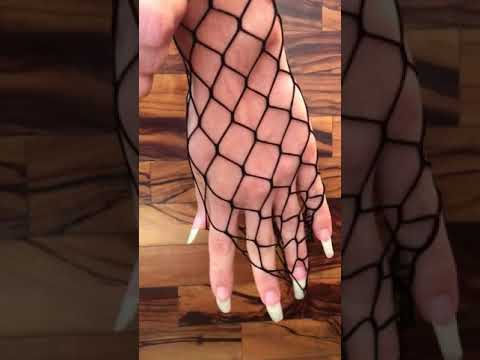 Bare Long Nails And Net On Hands By Our Model Laire (video 14)