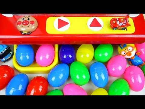 Surprise eggs and Kinder Joy Crane game car toys