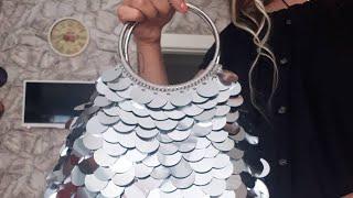 Pullu el çantası /metal saplı/ bolsa de lantejoulas