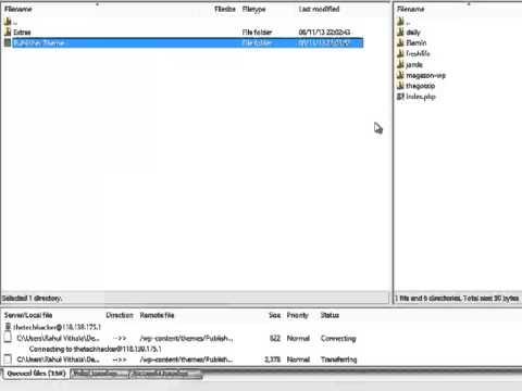 Theme upload to WP Database using FTP
