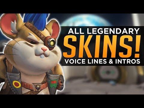 Overwatch: ALL Hammond SKINS, Voice Lines & Highlight Intros!