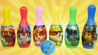 Preschool Toys PAW PATROL Teach Colors and Counting Bowling Game Set with PJ Masks Disney Toys
