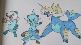 How to draw Pokemon: No.501 Oshawott, No.502 Dewott, No.503 Samurott