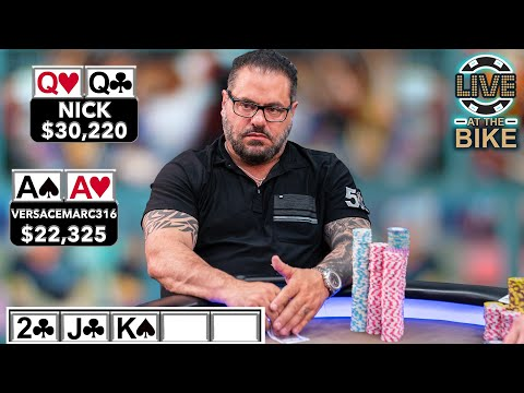 WEIRD CHECK BUT OK: TWO HUGE POKER HANDS COLLIDE (AA Vs QQ) ♠ Live At The Bike!