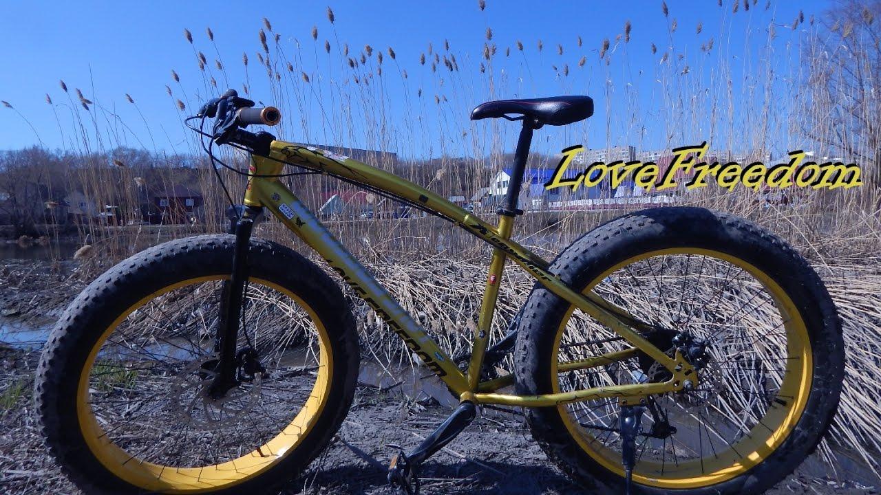 Фэтбайк fatbike велосипед на толстых колесах - YouTube