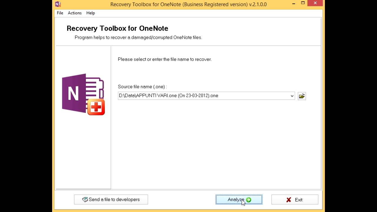 Recovery Toolbox for OneNote Manual