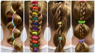 TOP 4 PERFECT Ponytails with  Bright elastics ✿ HOW TO BRAID FOR BEGINNERS(Braid Tutorial #3)