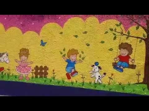 Decoracion Mural Para Fachada De Guarderia Ninos Jugando Pared