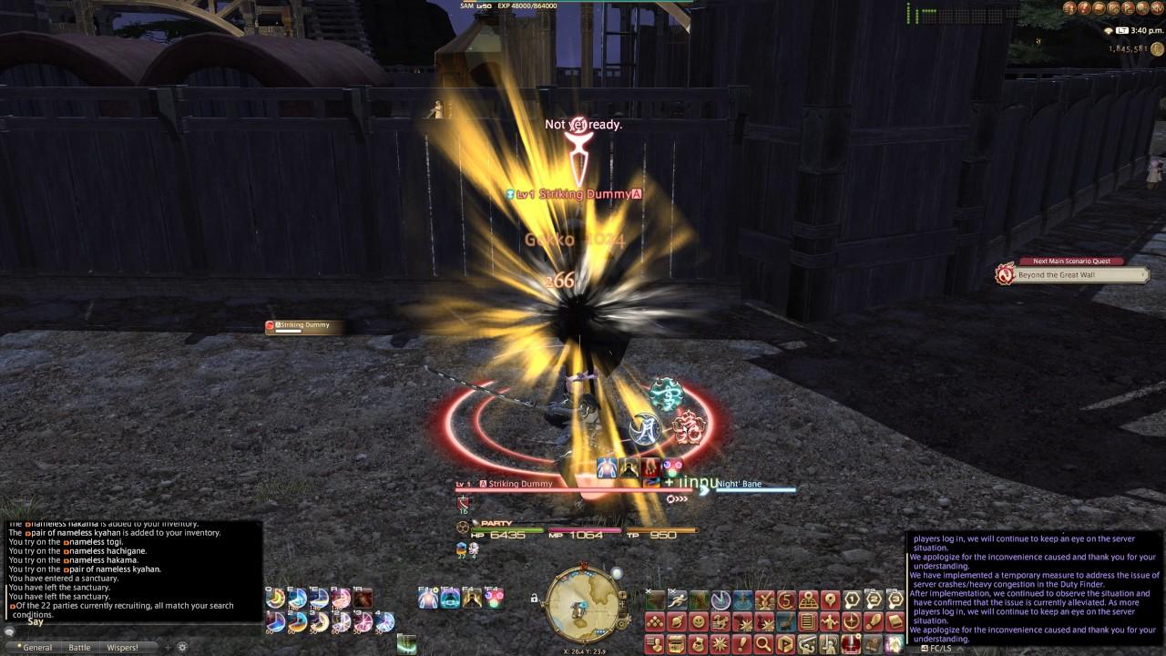 Final Fantasy XIV 4K Stormblood Samurai level 50 First and Keybinds,