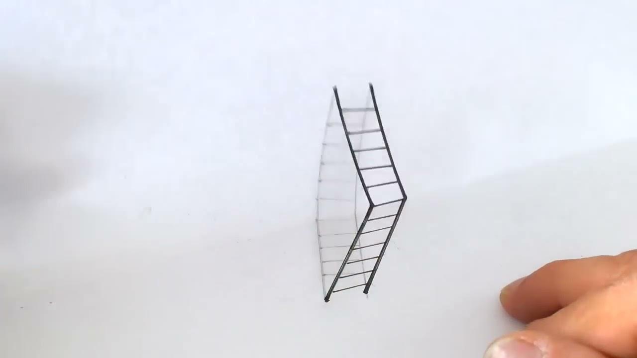 Echelle en 3d avec effet d illusion d 39 optique youtube for Effet d optique 3d