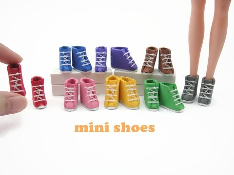 DIY Miniature Doll Mini Shoes Sneakers Boots - Easy!