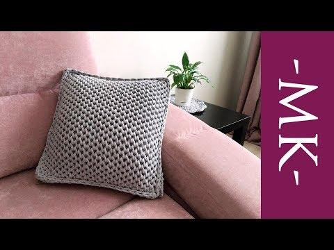 Как связать декоративную подушку спицами