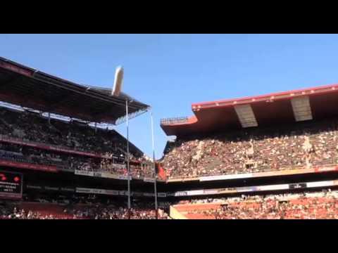 Jet flies over Ellis Park, South Africa