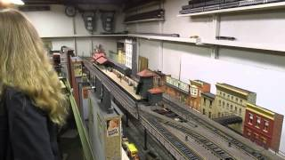 Joe F O-scale elevated train layout
