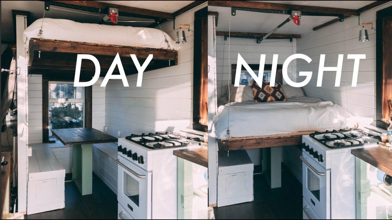 Diy Elevator Bed Tiny House Design Youtube