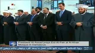 Syria News 28/7/2014, President al-Assad performs prayer of Eid al-Fitr at al-Khair Mosque, Damascus
