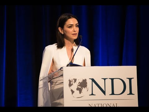 Nazanin Boniadi gives special remarks at 2018 Madeleine K. Albright Luncheon