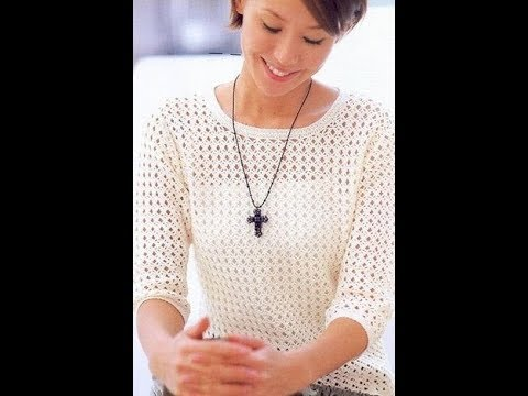 Нежный пуловер очень легким и красивым узором. Простая схема, МК