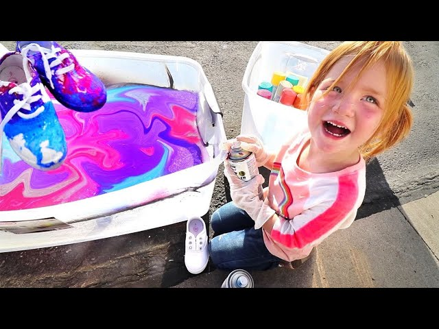 HYDRO Dipping Custom Shoes!! Adley Learns to make Tie-Dye pumpkins and our new lake house makeover!