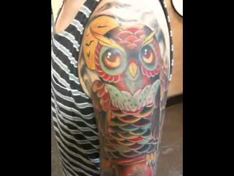 owl half sleeve tattoo youtube. Black Bedroom Furniture Sets. Home Design Ideas