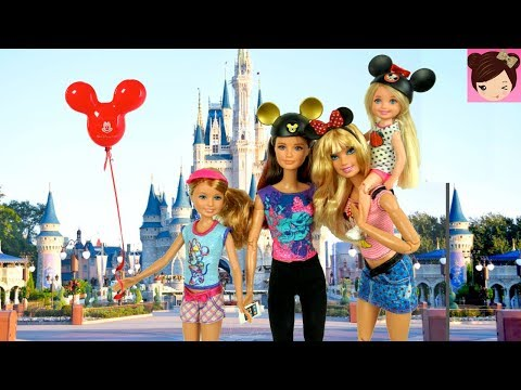 Barbie Sisters Dolls Go on a Trip To Disney World Park - Barbie Family Holiday Vacation