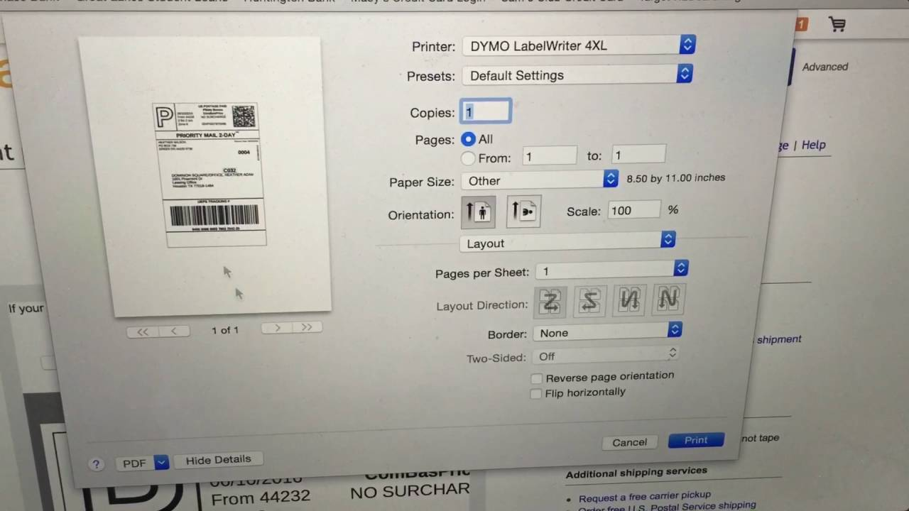 How to use the DYMO LabelWriter 4XL To Print Shipping Labels For LuLaRoe  Audrey And eBay On Mac Book