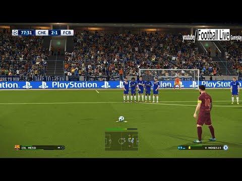 PES 2018   Chelsea FC vs FC Barcelona   L.MESSI free kick goal   UEFA Champions League [UCL]