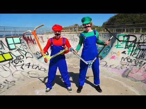 *VIDEO GAME OF SCOOT IN REAL LIFE* Mario VS Luigi