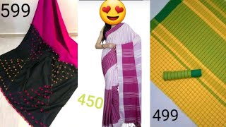 #Handloom sarees collection@449 #పెట్టుబడి చీరలు అతితక్కువ ధరల్లో🤗