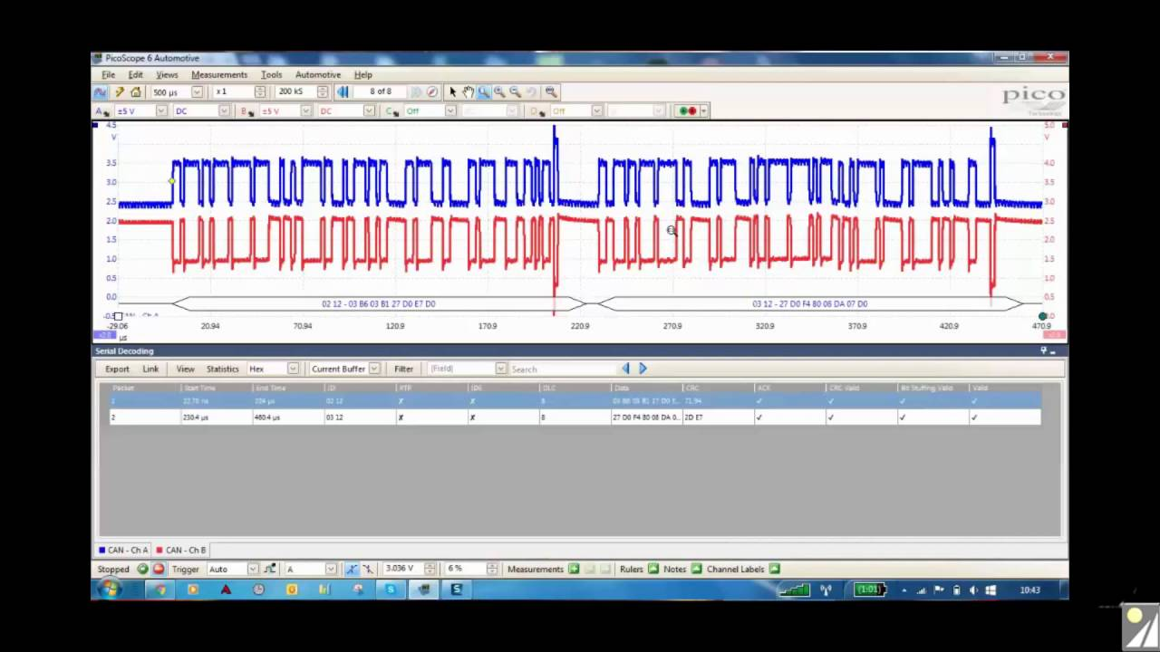 Decoding an automobile CANbus signal using a PicoScope and a Pico CAN  testbox