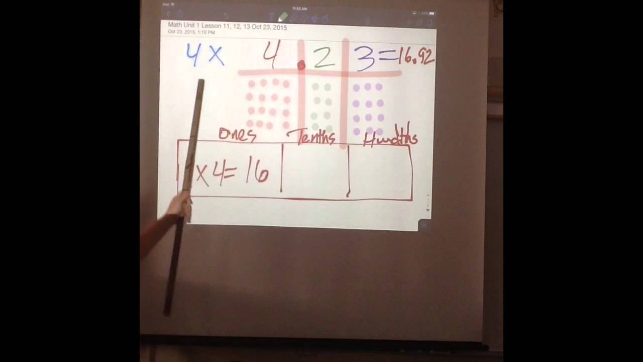 math unit 1 lesson 11 multiplying decimals using drawing tape diagram and area models [ 1280 x 720 Pixel ]