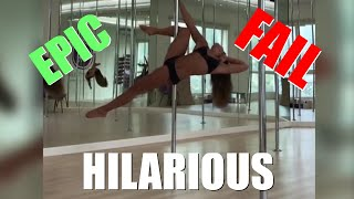 TALE OF THE FAIL - Stunning Pole Dancer falls on her PERFECT booty
