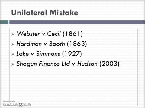 Law of Contract: Mistake Lecture