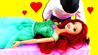 Disney Princess Ariel the Little Mermaid Saved from Spell by Her True Love. Frozen Elsa Anna Hans.