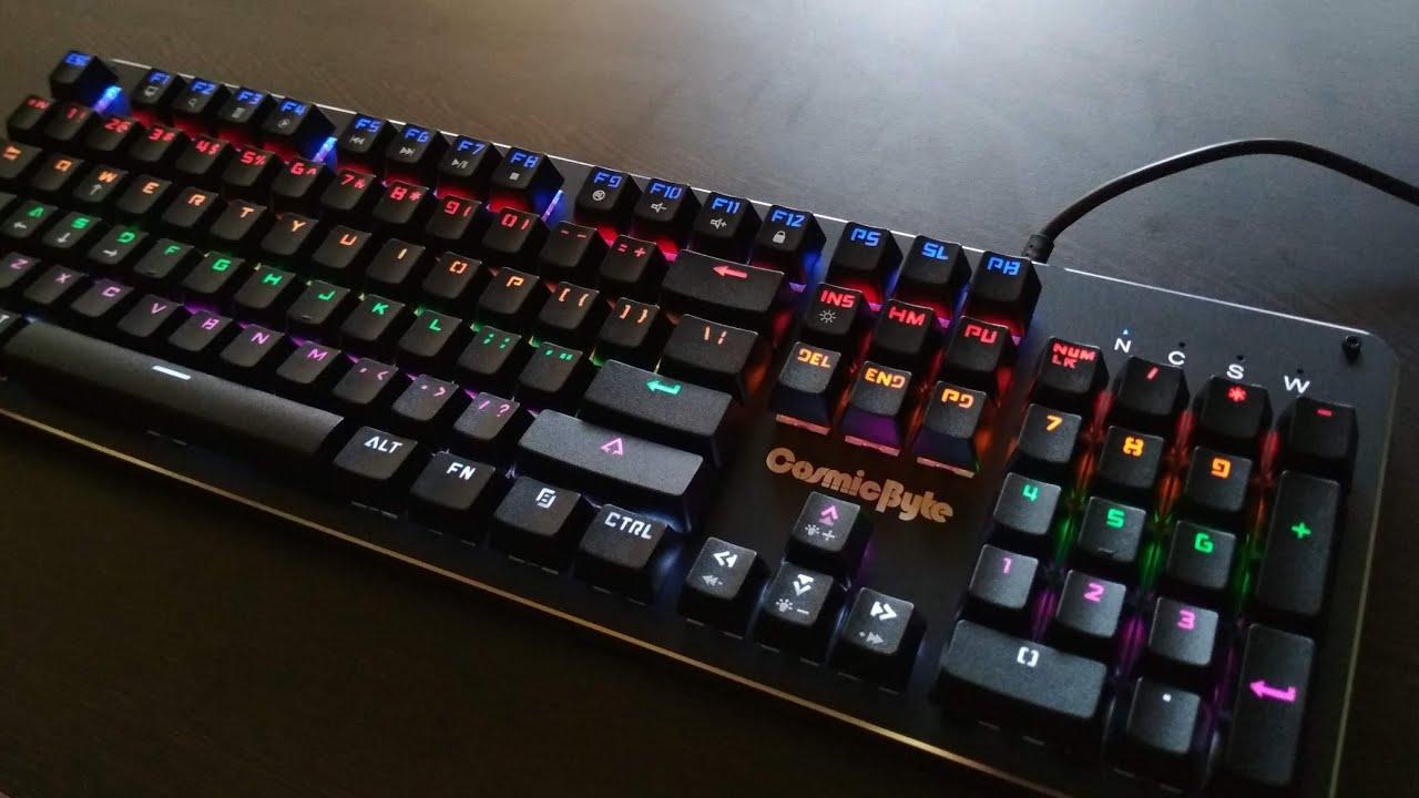 Cosmic Byte CB-GK-12 Neon Rainbow Mechanical Wired USB Gaming  Keyboard(Black)