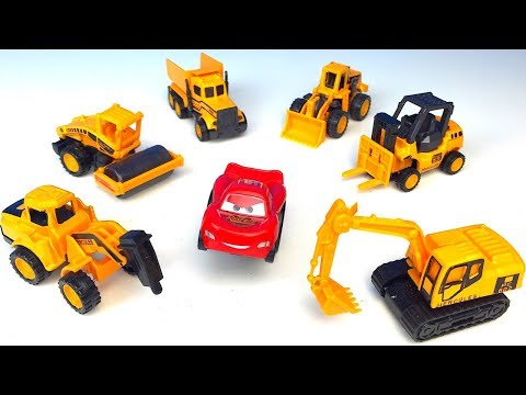 UNBOXING MINI METAL CAR SERIES MIGHTY MACHINES WITH DRILL FORKLIFT DUMP TRUCK EXCAVATOR FRONT LOADER