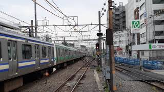 E231系0番台 常磐線 マト110編成+マト139編成(成田線120周年記念ラッピング) 松戸駅発車